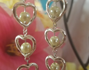 Silver hearts with Pearls