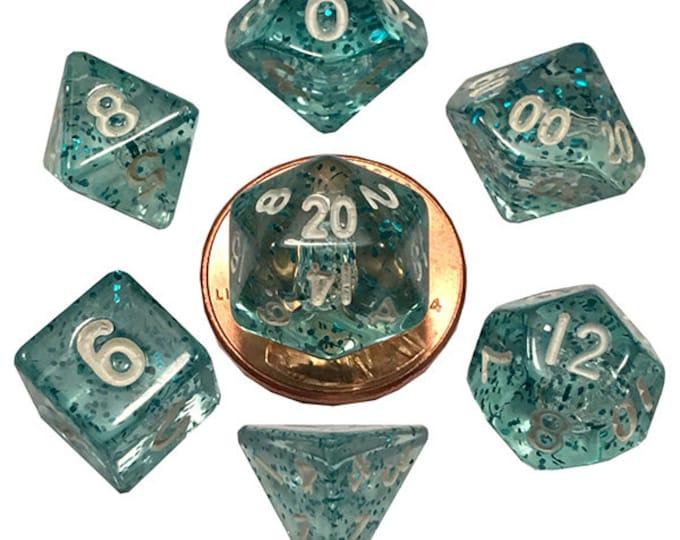 7-Die Set Ethereal: 10mm Light Blue/White - MTD4208 - Metallic Dice Games