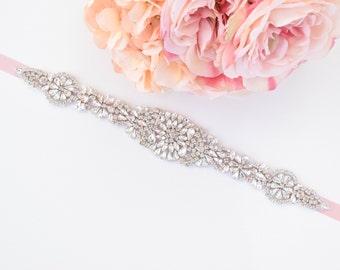 Crystal Rhinestone Bridal Belt on Satin Sash -Silver Bridal Sash Belt-Crystal Rhinestone Belt -Wedding Sash- Wedding Accessories -  EYM B048