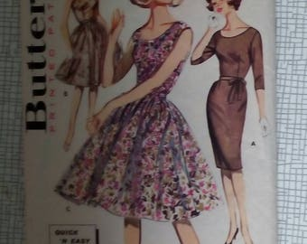 """1960s Dress - 34"""" Bust - Butterick 9973 - Vintage Retro Sewing Pattern"""
