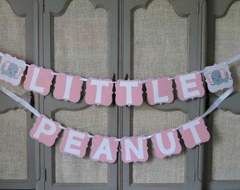 Little Peanut Elephant Banner Light Gray, Light Pink, White