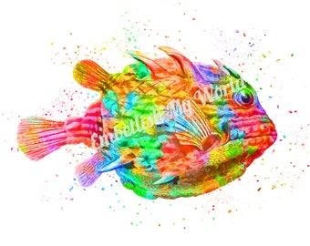 Rainbow Fish 8x10 Digital Art Print/Instant Download/Bathroom Decor/Home Decor/Colorful Fish/Tropical/Nautical/Fish Print/Kids Room/Children