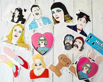 Movies Sticker Pack / Film / Funny Illustration Hand Drawn / Pulp Fiction / Ghost World / E.T. / Wizard of Oz / Divine / Cheech and Chong
