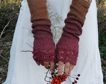 Long Knitted Fingerless Gloves, Womens Wrist Warmers Extra Long Arm Warmers Lace Knit Warm Mittens Winter Red Brown Gloves Gift for Her