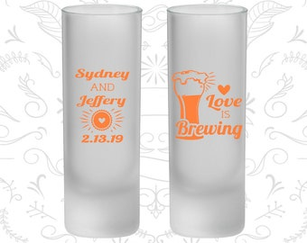 Love is Brewing, Frosted Shooter Glasses, Bar Wedding (399)