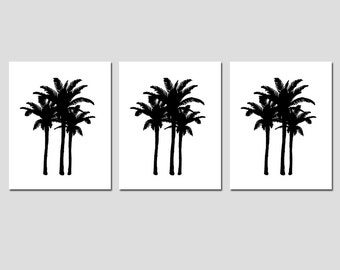 Palm Tree Medley - Set of Three 8x10 Palm Tree Silhouette Prints - Choose Your Colors - Shown in Black, White, Yellow, Gray and More