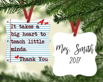 Teacher Ornament ~ Gift for Teacher - Personalized Teacher Ornament -  Ornament for Teacher - Teacher Gift -Gift under 20 - Stocking Stuffer