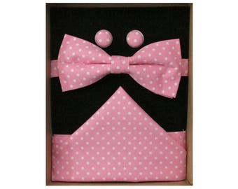 Pink & White Micro Dot Bow Tie Boxed Gift Set