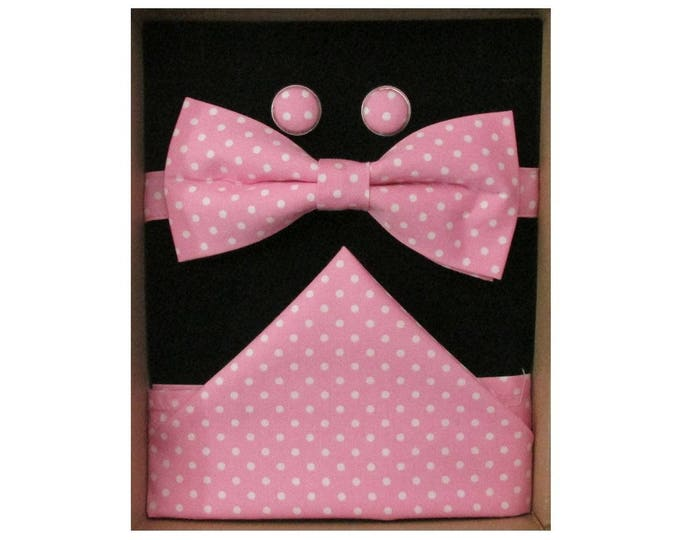 Pink & White Micro Dot Bow Tie Boxed Gift Set