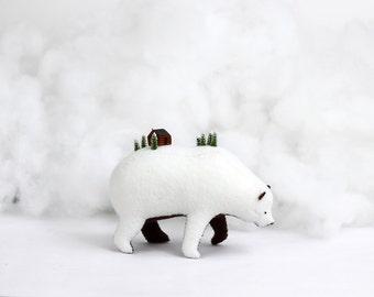 Log Cabin Bear / Soft Sculpture Bear / White Bear / Grizzly Bear Art / Fantasy Creature