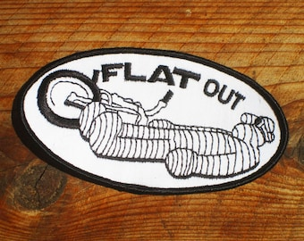 Vintage 70s Flat Out Motorcycle Sew-On Patch