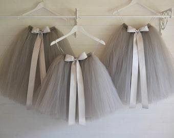 Tutu skirt girls, grey tutu, flower girl tutu, tulle skirt, bridesmaid, tutu skirt, baby tutu, tulle tutu, birthday tutu, toddler tutu