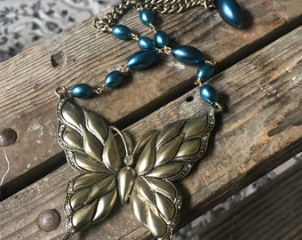 Flutterby Vintage Butterfly Pendant Necklace Costume Pearl Blue Repurpose