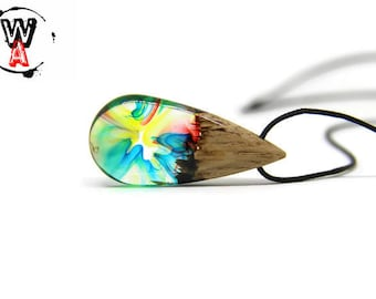 Jewelry pendant / wooden necklace multicolor fashion pendant necklace resin wood and resin necklace resin jewelry man