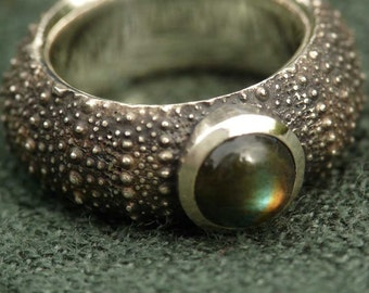 Sea Urchin ring with a Labradorite