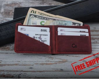 Leather wallet, handmade mens wallet, personalized leather wallet, mens leather wallet, gifts for boyfriend, mens wallets, red &black wallet