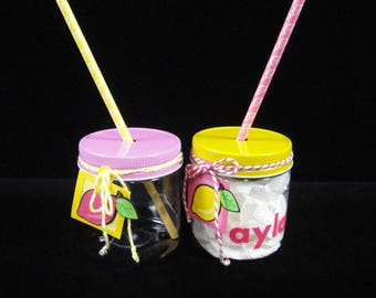 EIGHT Pink Lemonade Plastic Mason Jars with Straws and Tags, Pink Lemonade Party, Kids Party Favor, Kids Party Cups- 8 oz jars