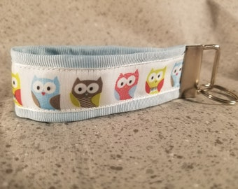 Pastel Owls Ribbon Keychain