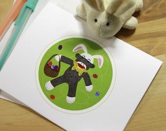 Sock Monkey Easter Bunny Card