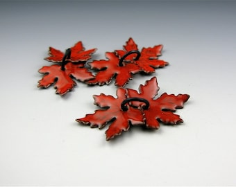 Enameled Small Maple Leaves / Orient Red Enamel  / Made to Order