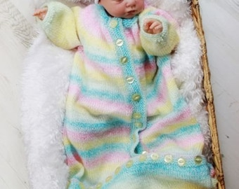 KNITTING PATTERN For Baby Sleeping bag in  2 Sizes PDF 207 Digital Download