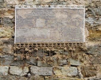 Curtain, retro vintage filet crochet ecru cotton, handmade, light brown crochet lace pendants fruit hops