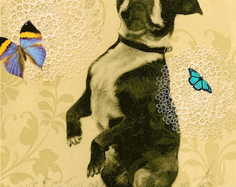 Boston Terrier all occasion card with butterflies