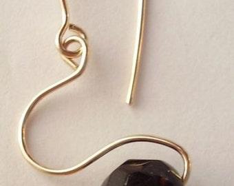 Brown Earrings Agate Earrings Modern Earrings Simplistic design Faceted Agate 14 kt Gold Earring Hand Forged Modern Stone Earring