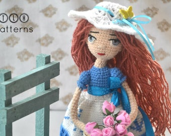 Crochet doll pattern, crochet amigurumi doll, amigurumi doll pattern, crochet doll Becky, pattern no 96