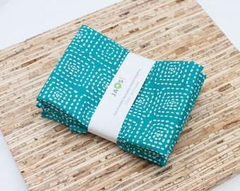Large Cloth Napkins - Set of 4 - (N3345) - Aqua Teal Dots Modern Reusable Fabric Napkins