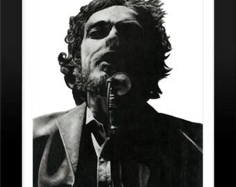 Bob Dylan charcoal drawing Illustration Print - American Singer, Musician, Songwriter,