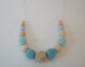 Lactation necklace, wooden necklace and turquoise crochet