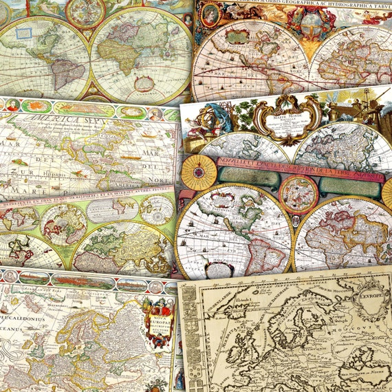 Vintage maps digital paper world europe america old maps te gusta este artculo gumiabroncs Images