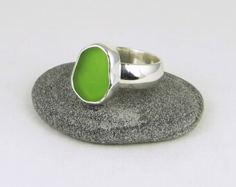Lime Green Sea Glass Bezel Ring Maine Size 8.25