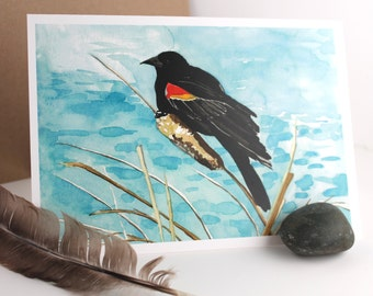 Red Winged Blackbird - Original Watercolor - Home Decor - Note card - Blank