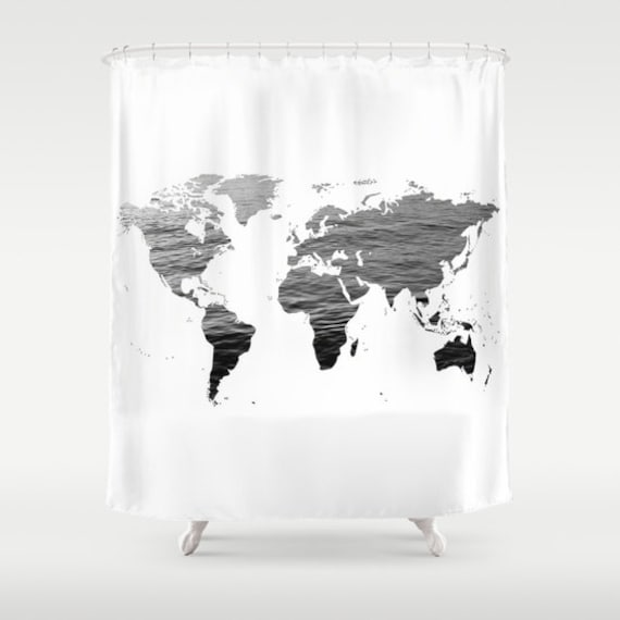 Ocean texture map shower curtain black white bathroom home ocean texture map shower curtain black white bathroom home decor world map shower curtaineducational shower curtain dorm shower curtain gumiabroncs Images