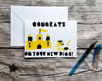 Hand Screenprinted Greetings Card - 'Congrats on your New Digs!' New Home Congratulations Card