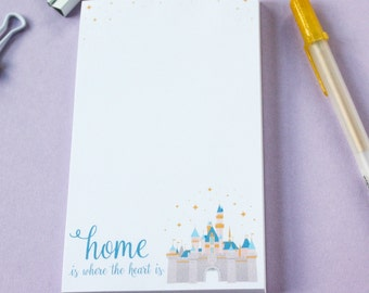 Fairytale Castle Notepad for Dreamers, Home is where the heart is, Disneyland inspired princess castle