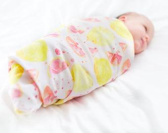 Organic cotton swaddle blanket in Pink Lemonade, Watercolor Lemons, Pink and Yellow