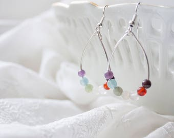 Rainbow Gemstone Earrings - Rainbow Earrings for Mom Trying to Conceive - Fertility Gemstones Fertility Crystals  Gift for Mothers Day Gift