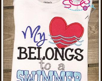 Swimmer Sibling Shirt/Bodysuit--My heart belongs to a swimmer