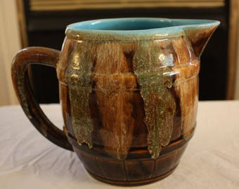 Vintage Dryden Pottery Pitcher, Brown and Turquoise