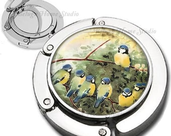 Bird School Foldable Purse Hook Bag Hanger With Lipstick Compact Mirror