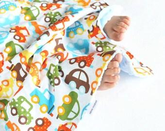 Baby Boy Blanket Ready Set Go Cars Lovie, Security Blanket with Minky for Baby Boy Toddler Boy
