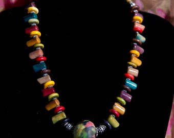Bright Tagua Nut Necklace with African Glass Bead