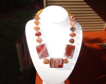 Gorgeous Opal, Citrine and Swarovski Crystal Necklace