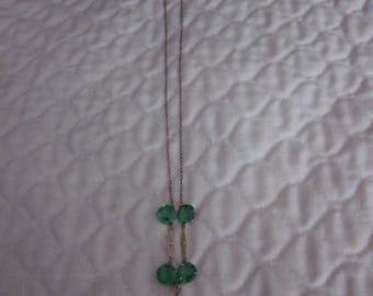 Vintage Czech Art Deco necklace Green & Purple Glass