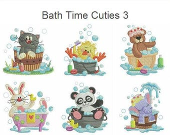 Bath Time Cuties 3 Embroidery Designs Instant Download 4x4 hoop 10 designs APE2527