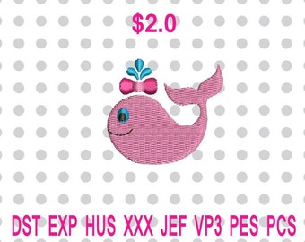 Mini Valentine Whale Machine Embroidery Design 3 Sizes-INSTANT DOWNLOAD