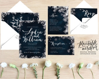 Winter Wedding Invitation Template Set Rustic Christmas - Wedding invitation templates: winter wedding invitation templates free